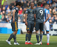 Leicester City's Youri Tielemans and Jamie Vardy prepare for their teams free kick <br /> <br /> Photographer Stephen White/CameraSport<br /> <br /> The Premier League - Huddersfield Town v Leicester City - Saturday 6th April 2019 - John Smith's Stadium - Huddersfield<br /> <br /> World Copyright © 2019 CameraSport. All rights reserved. 43 Linden Ave. Countesthorpe. Leicester. England. LE8 5PG - Tel: +44 (0) 116 277 4147 - admin@camerasport.com - www.camerasport.com