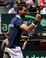 BOGOTA - COLOMBIA – 17 – 09 -2019: Marin Cilic de Croacia, celebra el punto ganado a Santiago Giraldo de Colombia, durante partido de la Copa Davis entre los equipos de Colombia y Croacia, partidos por el ascenso al Grupo Mundial de Copa Davis por BNP Paribas, en la Plaza de Toros La Santamaria en la ciudad de Bogota. / Marin Cilic of Croatia, celebrates the winer point to Santiago Giraldo of Colombia,  during a Davis Cup match between the teams of Colombia and Croatia, match promoted to the World Group Davis Cup by BNP Paribas, at the La Santamaria Ring Bull in Bogota city. / Photo: VizzorImage / Luis Ramirez / Staff.