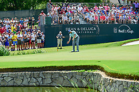 Jordan Spieth (USA) watches his putt on 9 during round 2 of the Dean &amp; Deluca Invitational, at The Colonial, Ft. Worth, Texas, USA. 5/26/2017.<br /> Picture: Golffile | Ken Murray<br /> <br /> <br /> All photo usage must carry mandatory copyright credit (&copy; Golffile | Ken Murray)