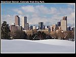 Skyline with snow in City Park, Denver, Colorado, USA. .  John offers private photo tours in Denver, Boulder and throughout Colorado. Year-round Colorado photo tours.