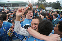 Silverstream players and fans celebrate winning the Wellington Secondary Schools premier rugby final between Silverstream and Wellington College at Hutt Recreation Ground, Petone, Wellington, New Zealand on Sunday, 12 August 2012. Photo: Dave Lintott / lintottphoto.co.nz