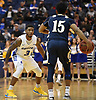 Justin Wright-Foreman #3 of Hofstra University, guards Damian Chong Qui #15 of Mt. St. Mary's during the first half of a non-conference NCAA men's basketball game at Mack Sports Complex in Hempstead, NY on Friday, Nov. 9, 2018