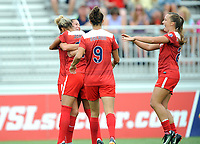 Boyds, MD - Saturday August 12, 2017: Estelle Johnson, Arielle Ship, Meggie Dougherty Howard, Havana Solaun during a regular season National Women's Soccer League (NWSL) match between the Washington Spirit and The Boston Breakers at Maureen Hendricks Field, Maryland SoccerPlex.