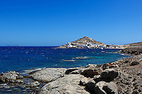 The fishing port at the small peninsula Divounia in Mykonos, Greece