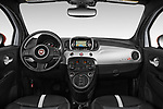 Stock photo of straight dashboard view of 2019 Fiat 500e Battery-Electric 3 Door Hatchback Dashboard