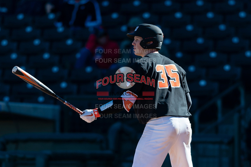 Oregon State Beavers catcher Adley Rutschman (35) at bat during a game against the Gonzaga Bulldogs on February 16, 2019 at Surprise Stadium in Surprise, Arizona. Oregon State defeated Gonzaga 9-3. (Zachary Lucy/Four Seam Images via AP)