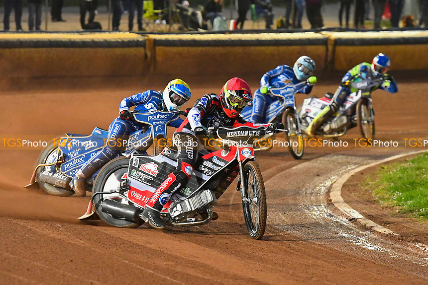 Nicoloai Klindt of Poole Pirates leads in Heat 3  during Poole Pirates vs King's Lynn Stars, SGB Premiership Shield Speedway at The Stadium on 11th April 2019