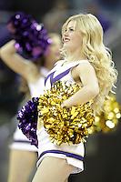 Dec 28, 2015:  Washington cheer member Hannah Alonzo entertained fans during a TV timeout.   Washington defeated UC Santa Barbara 83-78 at Alaska Airlines Arena in Seattle, WA.