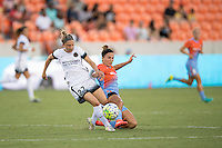 Houston, TX - Saturday July 16, 2016: Maureen Fitzgerald, Amber Brooks during a regular season National Women's Soccer League (NWSL) match between the Houston Dash and the Portland Thorns FC at BBVA Compass Stadium.