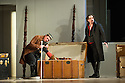 London, UK. 14.10.2014. English National Opera presents THE MARRIAGE OF FIGARO, directed by Fiona Shaw, at the London Coliseum. Picture shows:  Colin Judson (Don Basilio) and Benedict Nelson (Count Almaviva). Photograph © Jane Hobson.
