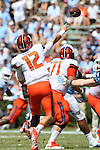 19 September 2015: Illinois' Wes Lunt (12) throws a pass. The University of North Carolina Tar Heels hosted the University of Illinois Fighting Illini at Kenan Memorial Stadium in Chapel Hill, North Carolina in a 2015 NCAA Division I College Football game. UNC won the game 48-14.