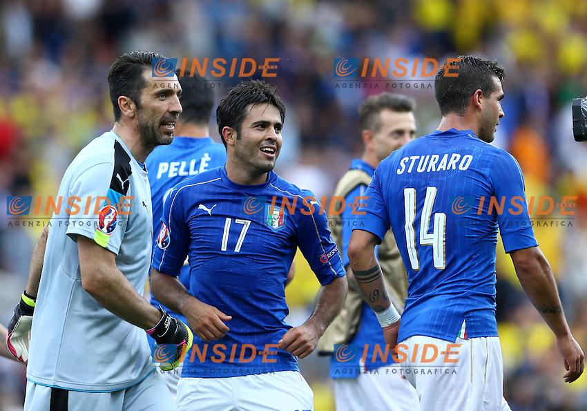 Gianluigi Buffon and Eder celebrating esultanza<br />Toulouse 17-06-2016 Stade Velodrome Footballl Euro2016 Italy - Sweden  / Italia - Svezia Group Stage Group E. Foto Matteo Ciambelli / Insidefoto