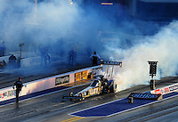 Apr. 13, 2012; Concord, NC, USA: NHRA top fuel dragster driver Tony Schumacher during qualifying for the Four Wide Nationals at zMax Dragway. Mandatory Credit: Mark J. Rebilas-