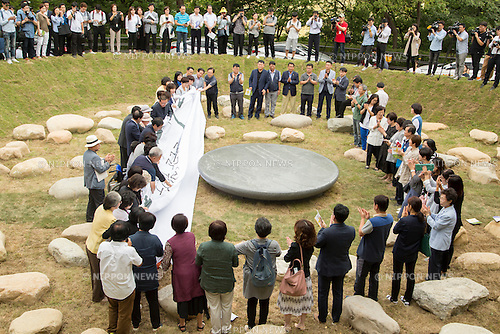Memorial park for former Korean Comfort Women, Aug 29, 2016 : People attend an opening ceremony for a park commemorating the victims of Japan's sexual enslavement during Japan's occupation of the Korean Peninsula (1910-45), on Mount Nam in Seoul, South Korea. The Seoul Metropolitan Government and a committee which is charge of building the memorial park held the ceremony on Monday, which  marks the 106th anniversary of the colonization. The place of the memorial park is the former residence of Japan's colonial-era resident-general, where the annexation treaty between Korea and Japan was signed on August 22, 1910. The treaty went into effect one week later. (Photo by Lee Jae-Won/AFLO) (SOUTH KOREA)
