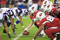 Dec 6, 2009; Glendale, AZ, USA; Arizona Cardinals center (63) Lyle Sendlein prepares to snap the ball against the Minnesota Vikings at University of Phoenix Stadium. The Cardinals defeated the Vikings 30-17. Mandatory Credit: Mark J. Rebilas-