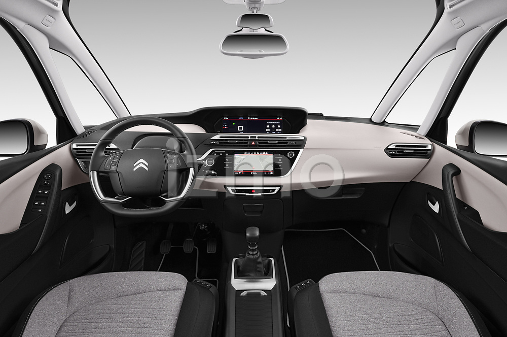 Stock photo of straight dashboard view of a 2018 Citroen C4 Spacetourer Business + 5 Door MPV