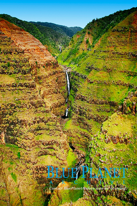 Wai`alae or Waialae Falls, 1,000 foot drop, Waimea Canyon, the 'Grand Canyon of the Pacific Ocean', approximately one mile wide and ten miles long, more than 3,500 feet deep, State Park, Kauai, Hawaii