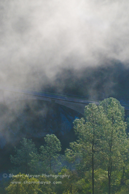 The famous and historic No Hands Bridge surrounded by fog, Auburn, California.