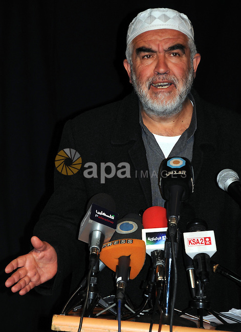 Sheikh Raed Salah, the leader of the Islamic Movement in Israel speaks during a press conference for the Palestinian National and Islamic leaders in Jerusalem to discuss the visit of U.S. President Barack Obama to Jerusalem next month, in Jerusalem on  February 24, 2013. Photo by Mahfouz Abu Turk