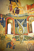 Apse of Santa Maria d'Aneu<br /> <br /> Late eleventh century - the beginning of the twelfth century<br /> Fresco transferred to canvas from the Church of Santa Maria d'Aneu, La Guingueta d'Aneu, Pollars Sobira, Spain.<br /> <br /> Acquisition of Museums Board of the 1919-23 campaign. MNAC 15874<br /> <br /> The iconography of the Romanesque frescoes of the Apse of Santa Maria d'Aneu shows the strong intellectualization of Romanesque art, which often waves the narrative in favor of symbolic concepts. Images of the Old Testament prophecy occupy the central part of the apse: the Seraphim of Isaiah's vision, burning embers that purify the words of Isaiah and of Elijah and four-wheel chariot of fire of Yahweh according to the vision of Ezekiel.