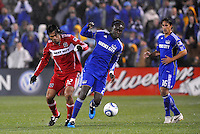 Kei Kamara, Wilman Conde (red)...Kansas City Wizards played to a 2-2 tie with Chicago Fire at Community America Ballpark, Kansas City, Kansas.