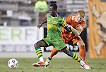 22 September 2012: Tampa Bay's Evans Frimpong (GHA) (20) and Carolina's Cory Elenio (right). The Carolina RailHawks played the Tampa Bay Rowdies to a 0-0 tie at WakeMed Soccer Stadium in Cary, NC in a 2012 North American Soccer League (NASL) regular season game.