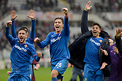 18th March 2018, Stadio Olimpico di Torino, Turin, Italy; Serie A football, Torino versus Fiorentina; Fiorentina players celebrate at the end of the match as they won 1-2