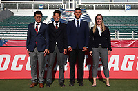 Cary, NC - Saturday April 22, 2017: Victor Rivas, Adrienne McDonald, Amilcar Sicaju, Javier Rodriguez prior to a regular season National Women's Soccer League (NWSL) match between the North Carolina Courage and the Portland Thorns FC at Sahlen's Stadium at WakeMed Soccer Park.