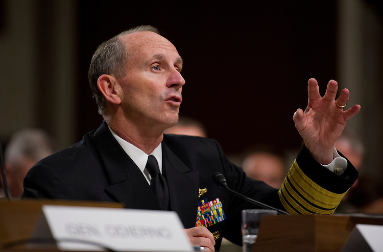UNITED STATES - Nov 7: Chief of Naval Operations Admiral Jonathan Greenert testifies on sequestration effects on military budget and spending during a Senate Armed Services Committee hearing on Capitol Hill in Washington, DC, November 7, 2013. (Photo By Douglas Graham/CQ Roll Call)