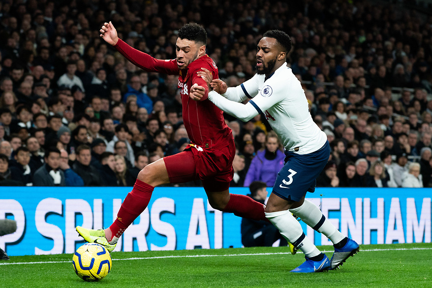 Liverpool's Alex Oxlade-Chamberlain battles for possession with Tottenham's Danny Rose <br /> <br /> Photographer Stephanie Meek/CameraSport<br /> <br /> The Premier League - Tottenham Hotspur v Liverpool - Saturday 11th January 2020 - Tottenham Hotspur Stadium - London<br /> <br /> World Copyright © 2020 CameraSport. All rights reserved. 43 Linden Ave. Countesthorpe. Leicester. England. LE8 5PG - Tel: +44 (0) 116 277 4147 - admin@camerasport.com - www.camerasport.com