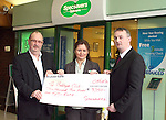 David McCloskey and Ann McEntee of Specsavers presents cheque to Peter Harris, Founder of The Bubblegum Club..Photo NEWSFILE/Jenny Matthews.(Photo credit should read Jenny Matthews/NEWSFILE)....This Picture has been sent you under the condtions enclosed by:.Newsfile Ltd..The Studio,.Millmount Abbey,.Drogheda,.Co Meath..Ireland..Tel: +353(0)41-9871240.Fax: +353(0)41-9871260.GSM: +353(0)86-2500958.email: pictures@newsfile.ie.www.newsfile.ie.FTP: 193.120.102.198.