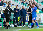 Hibs v St Johnstone.....30.04.11.Peter MacDonald gets subbed by Derek McInnes.Picture by Graeme Hart..Copyright Perthshire Picture Agency.Tel: 01738 623350  Mobile: 07990 594431