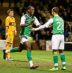 Iasiah Osbourne celebrates with Leigh Griffiths after scoring for Hibs