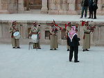 musical band playing in jerash roman city jordan