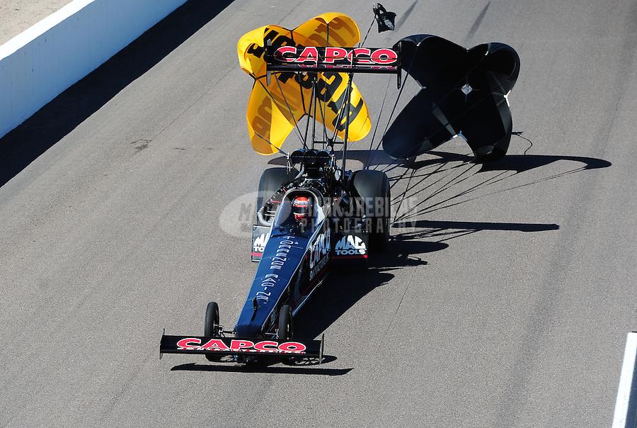 Oct. 16, 2011; Chandler, AZ, USA; NHRA top fuel dragster driver Steve Torrence during the Arizona Nationals at Firebird International Raceway. Mandatory Credit: Mark J. Rebilas-