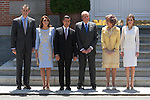 Spanish Royals King Juan Carlos of Spain (3R), Queen Sofia of Spain (2R), Prince Felipe of Spain (L) and Princess Letizia of Spain (R) receive Mexico´s President Enrique Pena Nieto and his wife Angelica Rivera at Zarzuela Palace in Madrid, Spain. June 09, 2013. (ALTERPHOTOS/Victor Blanco)