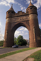 AJ4390, arch, Hartford, Soldiers and Sailors Memorial, Connecticut, The Gothic and Romanesque revival towers of the Soldiers & Sailors Memorial Arch in downtown Hartford in the state of Connecticut.