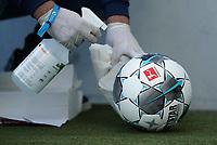 16th May 2020, Rhein-Neckar-Arena, Hoffenheim, Germany; Bundesliga football,1899 Hoffenheim versus Hertha Berlin;  Disinfecting the Derby star Ligaball during a break in the game