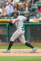 Wynton Bernard (6) of the Sacramento River Cats follows through on his swing against the Salt Lake Bees during the Pacific Coast League game at Smith's Ballpark on August 11, 2017 in Salt Lake City, Utah. The River Cats defeated the Bees 8-7. (Stephen Smith/Four Seam Images)