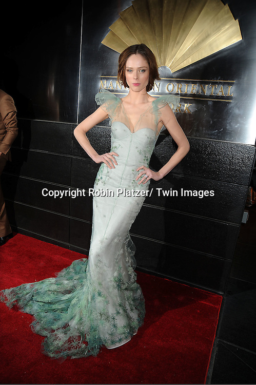 Coco Rocha in Zac Posen green dress arrives to The New Yorkers for Children 9th Annual  Spring Dinner Dance at The Mandarin Oriental on April 10, 2012 in New York City. The event was presented by fashion designer CD Greene.