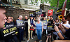 Trudy Howson <br /> LGBT Poet Laureate recites a poem <br /> <br /> <br /> Amnesty International UK<br /> CHECHNYA: STOP ABDUCTING AND KILLING GAY MEN<br /> protest at the Russian Embassy, London, Great Britain <br /> 2nd June 2017 <br /> <br /> Over a hundred men suspected of being gay have been abducted, tortured and some even killed in the southern Russian republic of Chechnya.<br /> <br /> The Chechen government won&rsquo;t admit that gay men even exist in Chechnya, let alone that they ordered what the police call 'preventive mopping up' of people they deem undesirable. We urgently need your help to call out the Chechen government on the persecution of people who are, as they put it, of 'non-traditional orientation', and urge immediate action to ensure their safety.<br /> <br /> Photograph by Elliott Franks <br /> Image licensed to Elliott Franks Photography Services