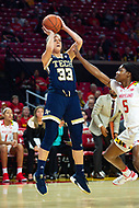 College Park, MD - NOV 29, 2017: Georgia Tech Yellow Jackets guard Francesca Pan (33) hits a jump shot over Maryland Terrapins guard Kaila Charles (5) during ACC/Big Ten Challenge game between Gerogia Tech and the No. 7 ranked Maryland Terrapins. Maryland defeated The Yellow Jackets 67-54 at the XFINITY Center in College Park, MD.  (Photo by Phil Peters/Media Images International)