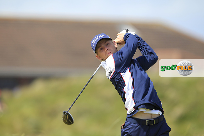 John Axelsen (DEN) on the 5th tee during Round 1 of the The Amateur Championship 2019 at The Island Golf Club, Co. Dublin on Monday 17th June 2019.<br /> Picture:  Thos Caffrey / Golffile<br /> <br /> All photo usage must carry mandatory copyright credit (© Golffile | Thos Caffrey)