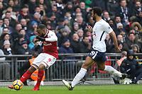 Alexandre Lacazette of Arsenal and Mousa Dembele of Tottenham Hotspur during Tottenham Hotspur vs Arsenal, Premier League Football at Wembley Stadium on 10th February 2018