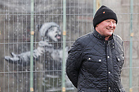 Pictured: Ian Lewis in Port Talbot. Friday 01 February 2019<br /> Re: Gallery owner and art collector John Brandler meets with garage owner Ian Lewis, where Banksy created his latest graffiti in Port Talbot, Wales, UK.