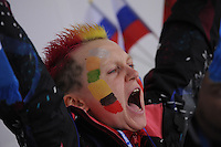 OLYMPICS: SOCHI: Adler Arena, 16-02-2014, Ladies' 1500m, Russian fan, ©photo Martin de Jong