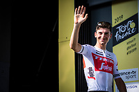 Giulio Ciccone (ITA/Trek Segafredo) on podium to take the white jersey in. <br /> <br /> Stage 8: Macon to Saint-Etienne (200km)<br /> 106th Tour de France 2019 (2.UWT)<br /> <br /> ©kramon