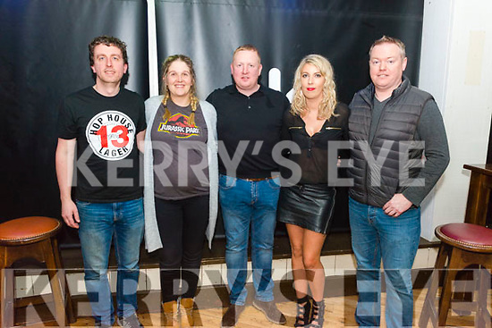 Alan Breen from Kilcummin, Alison Maher from Killarney, Denis McCarthy from Killarney Carrie Dineen from Rathmore and DJ Franky Beats from Killarney pictured at Single & Looking Speed Dating night in the K-Town Bar, Killarney last Friday night.