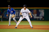 Pensacola Blue Wahoos Alex Kirilloff (19) leads off second base during a Southern League game against the Biloxi Shuckers on May 3, 2019 at Admiral Fetterman Field in Pensacola, Florida.  Pensacola defeated Biloxi 10-8.  (Mike Janes/Four Seam Images)