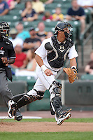 Rochester Red Wings catcher Wilson Ramos during a game vs. the Indianapolis Indians at Frontier Field in Rochester, New York;  July 17, 2010.   Indianapolis defeated Rochester 10-7.  Photo By Mike Janes/Four Seam Images